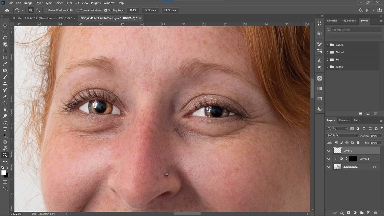 Whites of the eyes retouching mistake