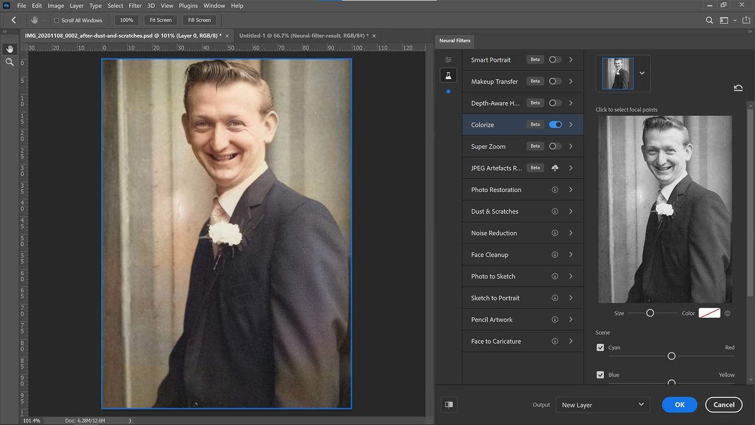 Colorize filter in Photoshop CC