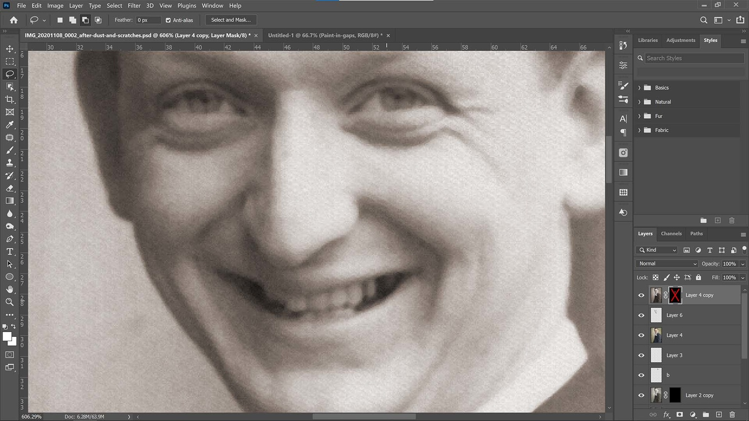 Desaturate the teeth in Photoshop