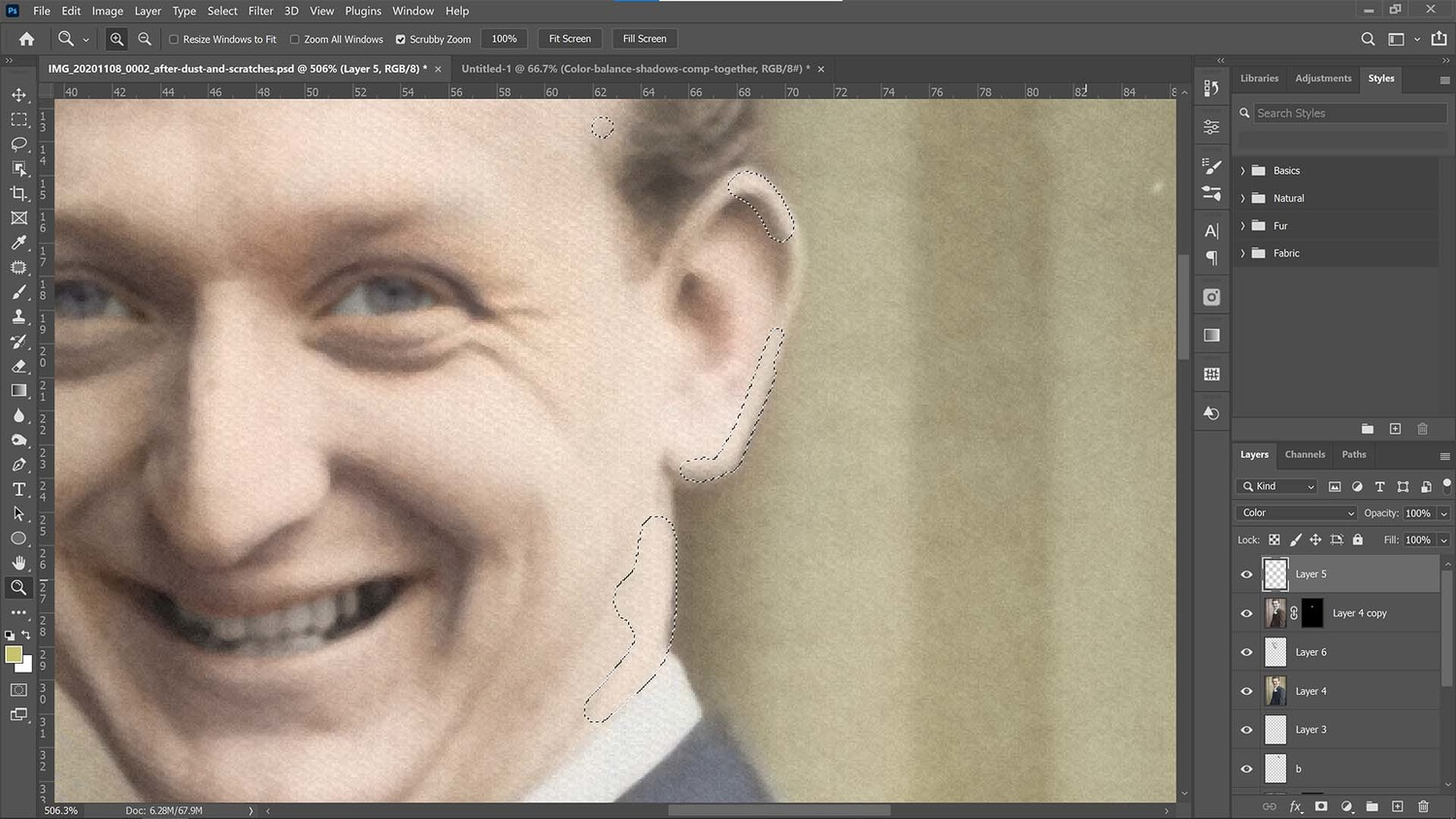 Paint over any gaps on the portrait