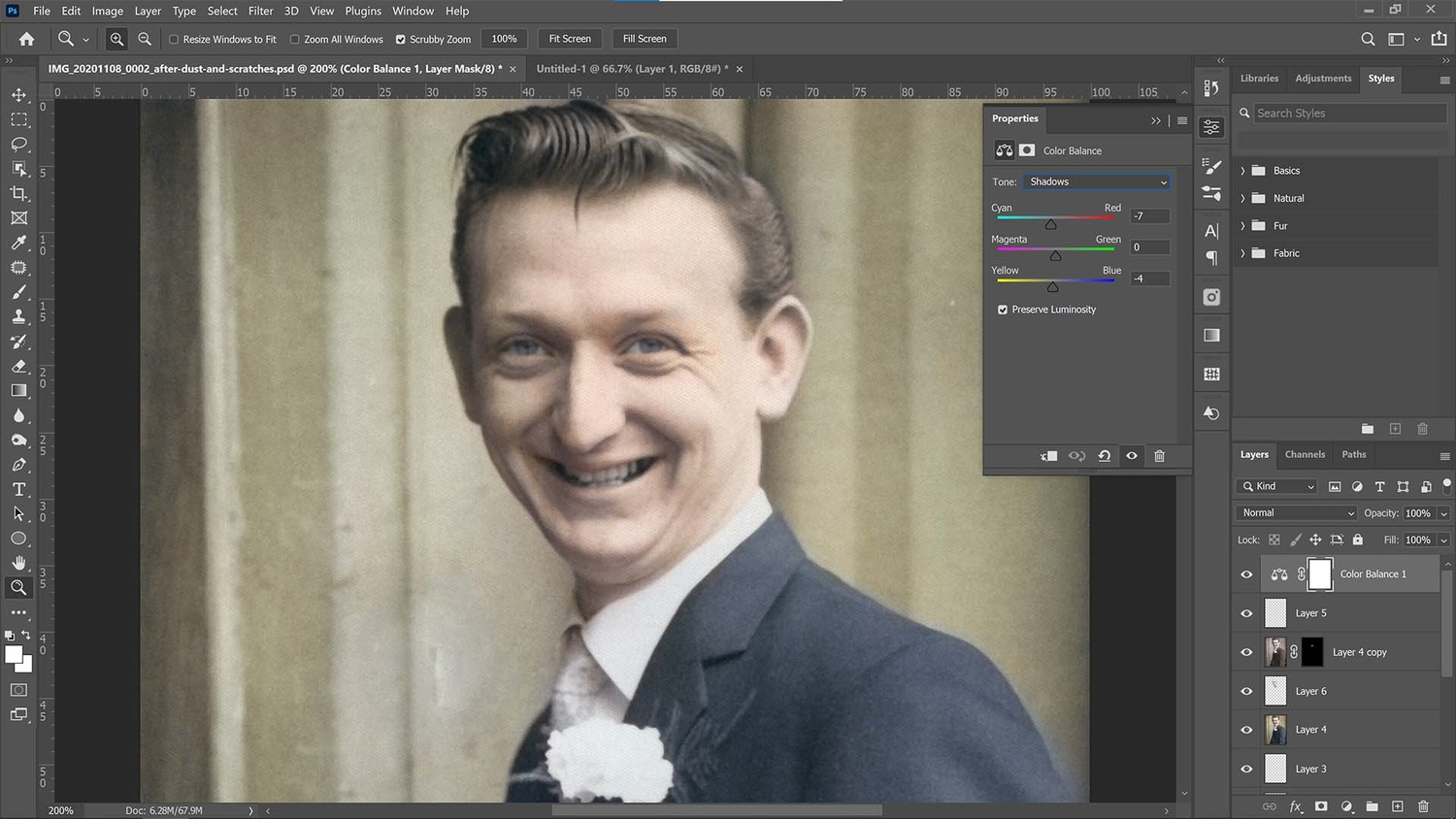 Adjust color balance in the photo