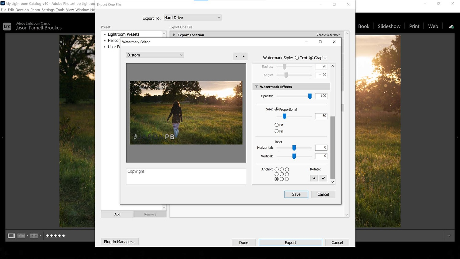 Change the size in lightroom