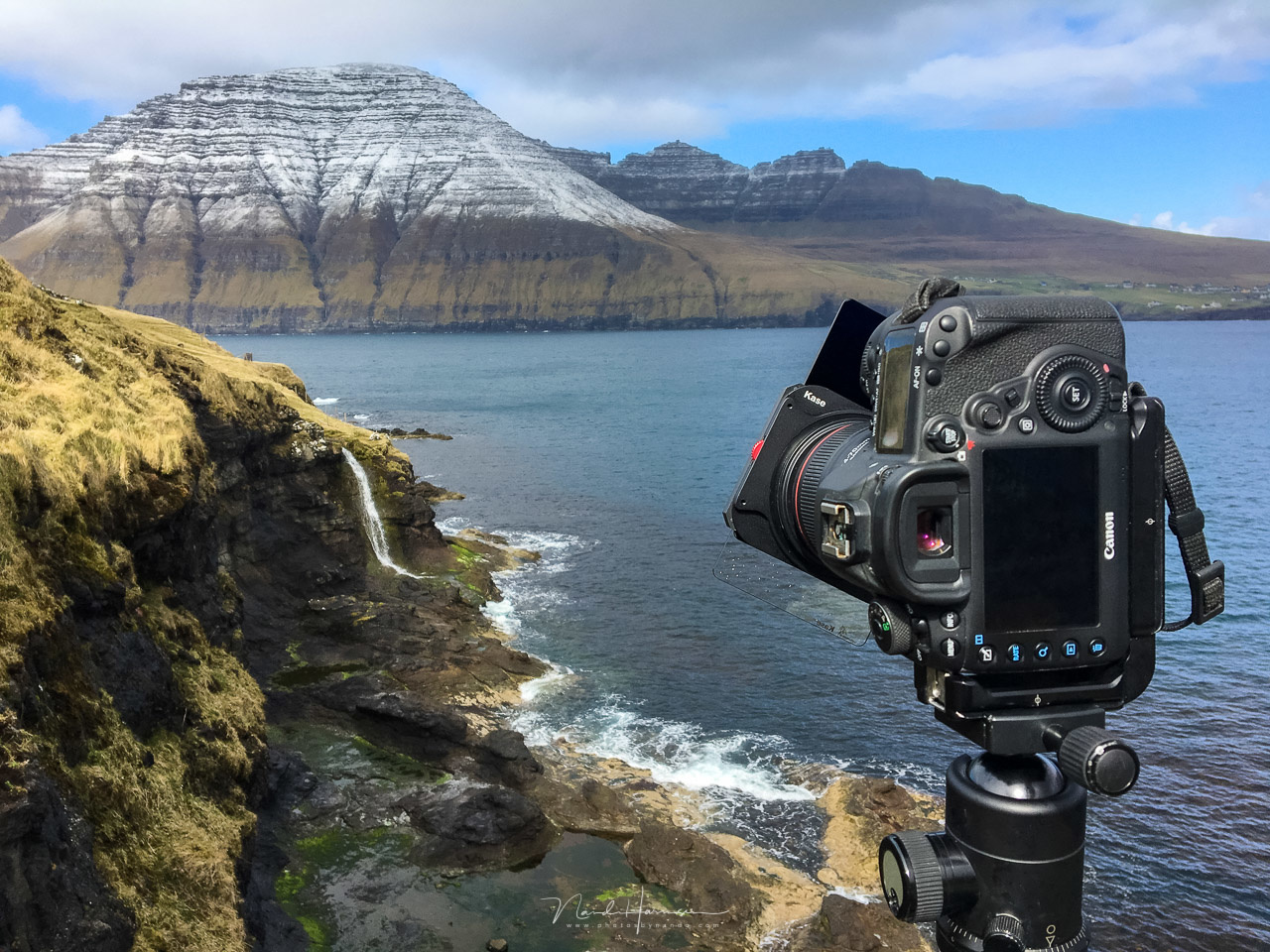 Photographing at the Faroe Islands. I use six pillars for my landscape photography, which forces me to look at the landscape in a very different way.