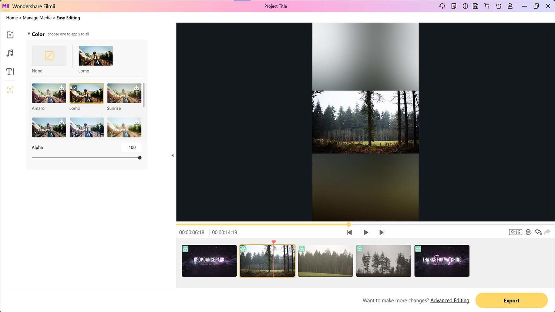 Filter presets in filmii