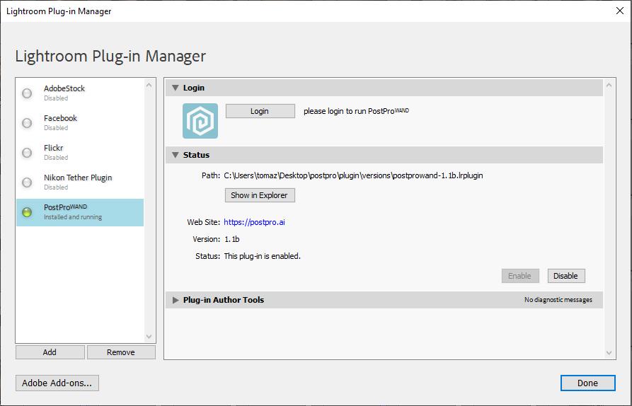 Capture d'écran de la gestion du plug-in Lightroom.