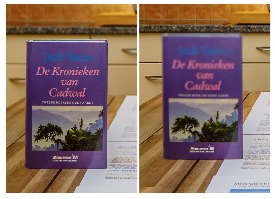 In a normal situation the plane of focus is vertical, just like the sensor orientation. But with tilt the top of the book cover is completely out of focus.