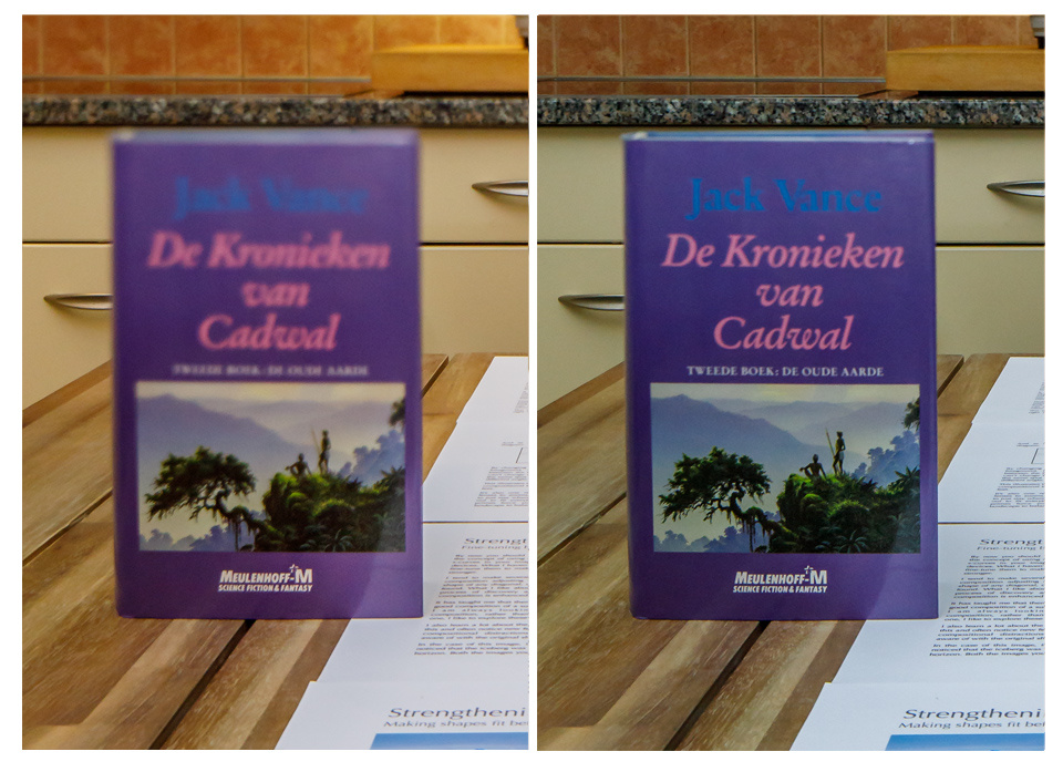 Both images are shot with a titled tilt-shift lens. At the left the book becomes out of focus when the distance from the plane of focus becomes larger. At the right you see the effect of a larger depth of field. The top of the book cover is almost in focu