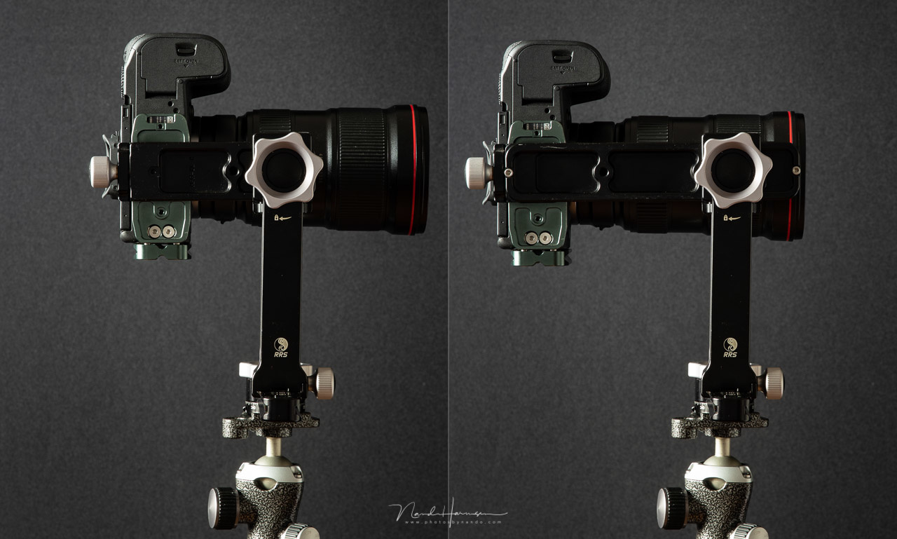 A long lens needs a long nodal slide. This can be a problem when rotating in the vertical direction