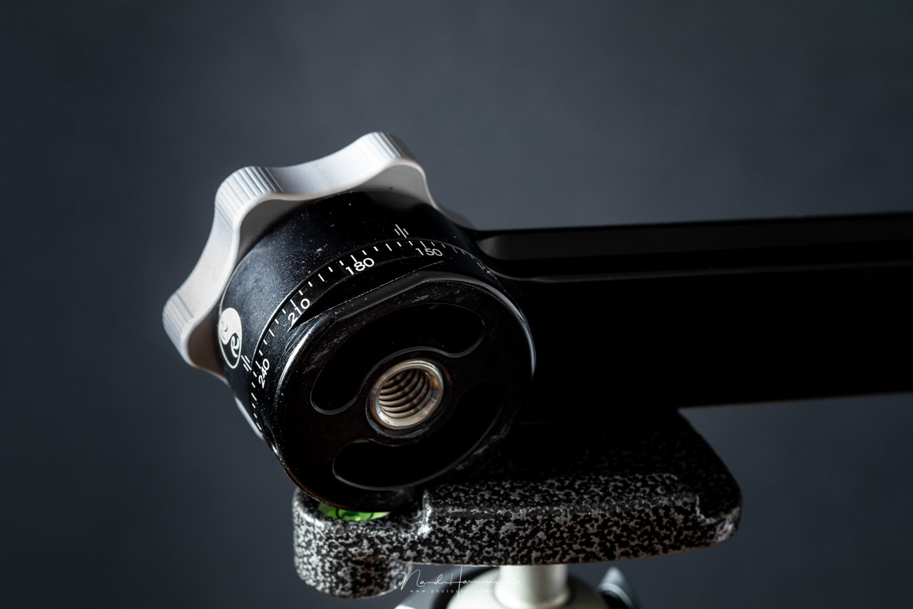 The RRS PG-01 Compact Pano-Gimbal Head has a tripod mount, and an Arca-Swiss dovetail mount as well