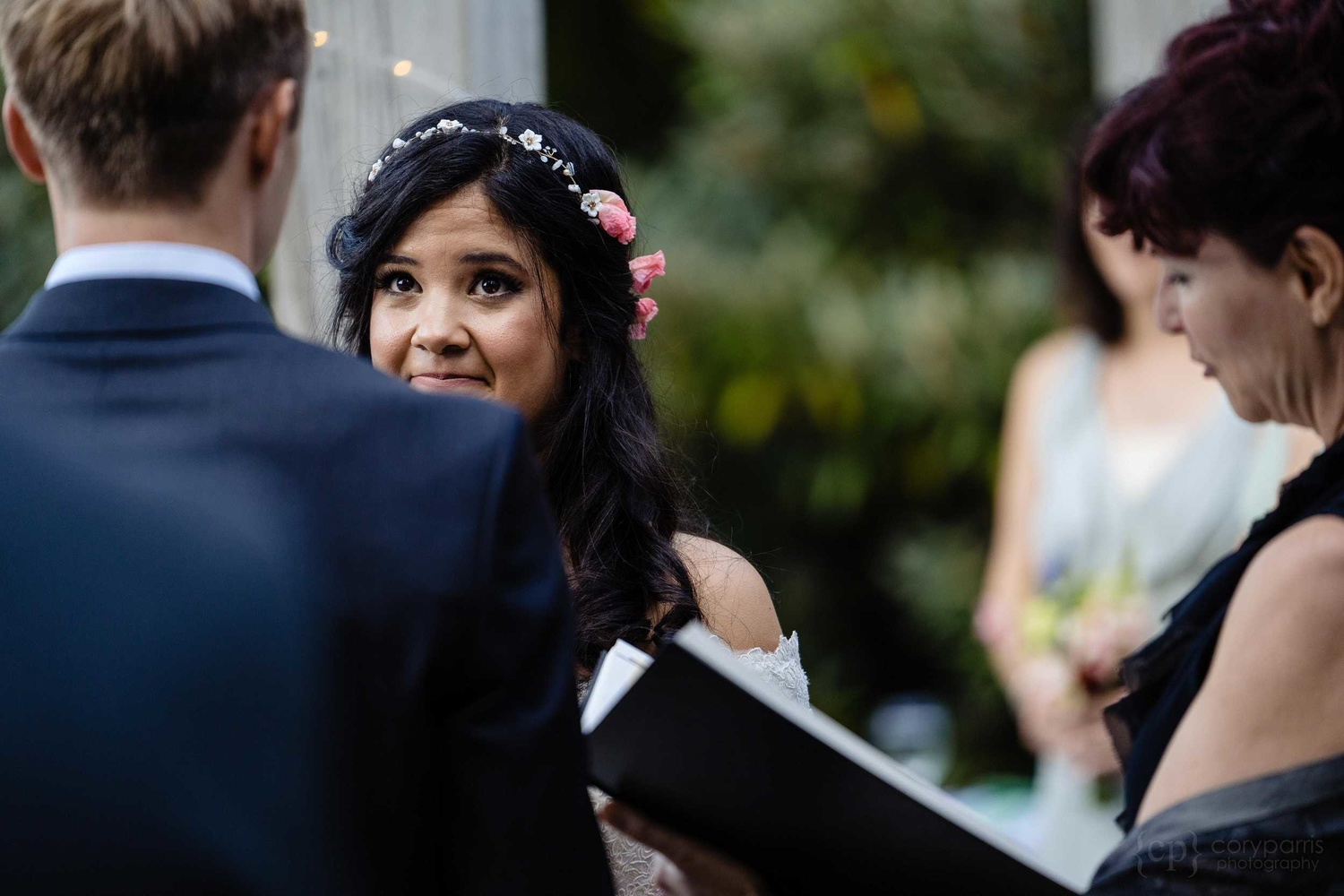 Bride looking at her groom at the Washington Park Arboretum in Seattle