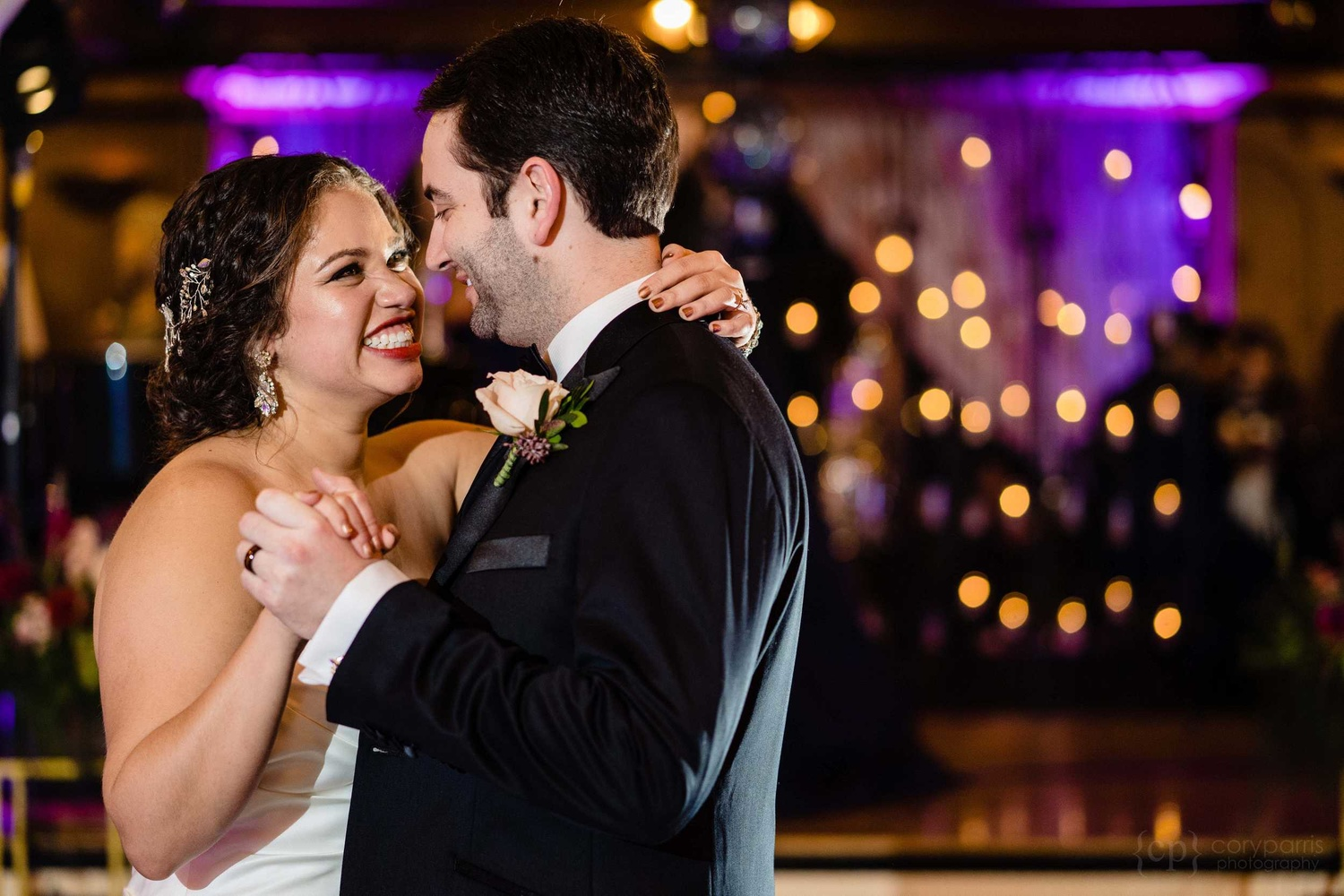 Bride and groom first dance at their Seattle wedding