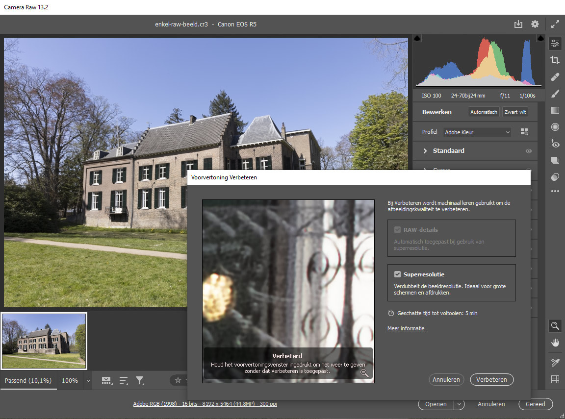 The new super resolution function in Adobe Camera Raw (sorry about the Dutch language). This option is relatively new for Adobe.