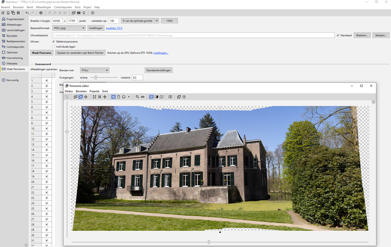 A screenshot from PTgui from the multi-row panorama I made. The total size is a staggering 752mp.