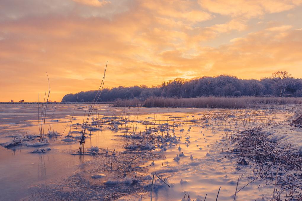 Frozen beach in the sunrise by Kasper Nymann