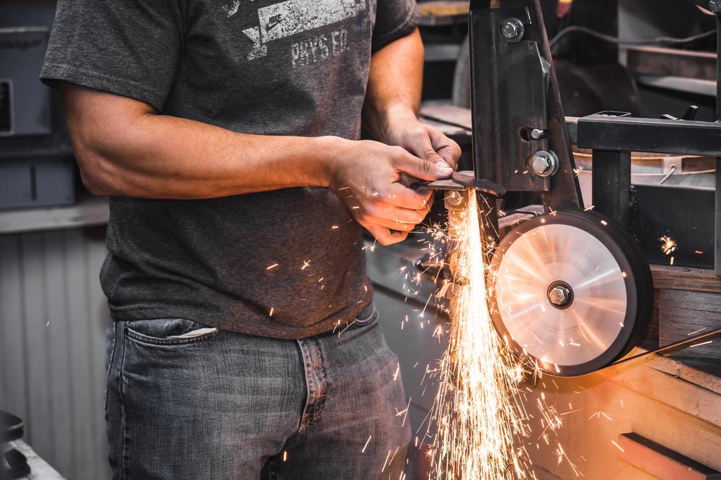 Man Making Custom Knife by Gary Bailey