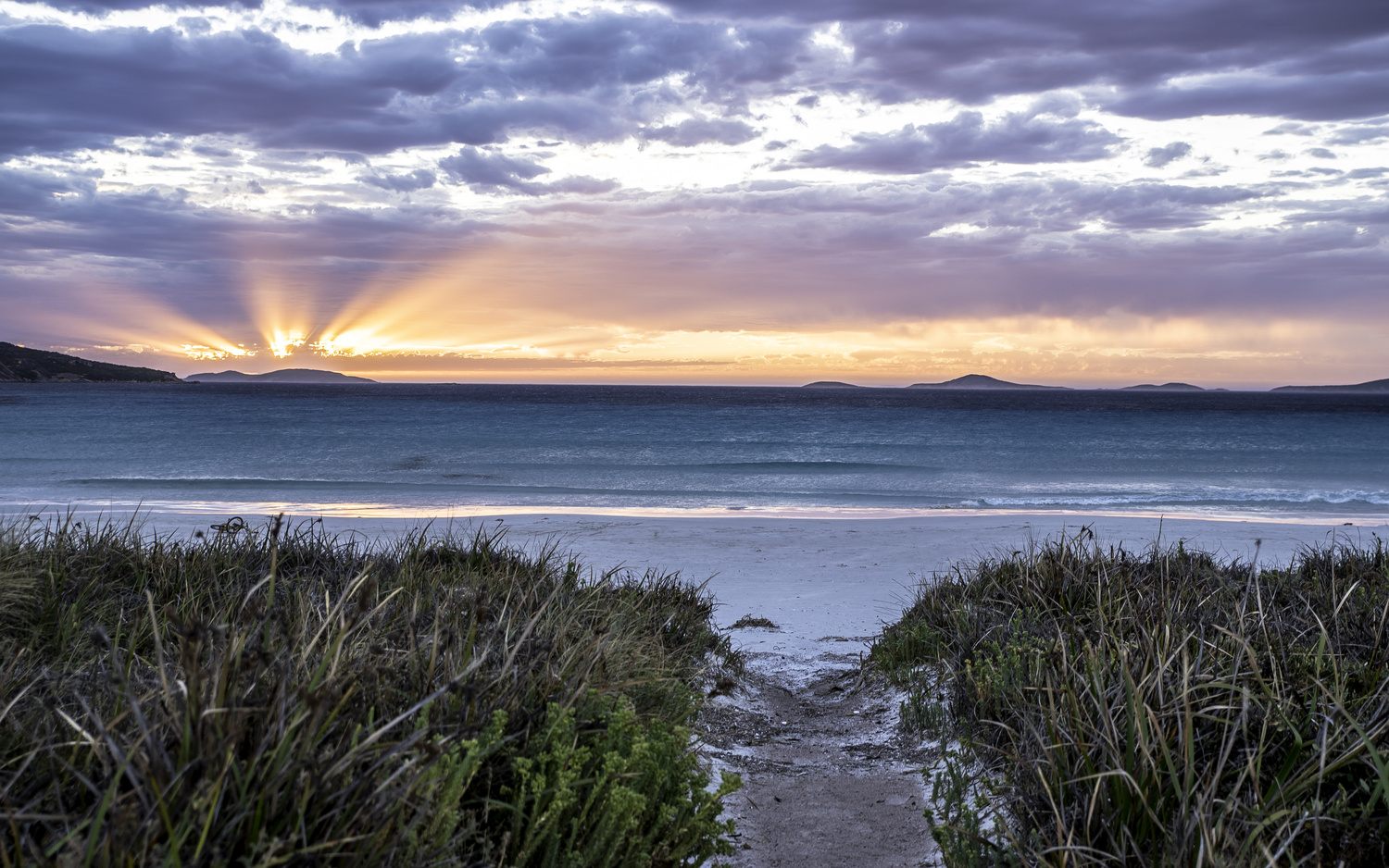 Le Grand beach at sunset by Campbell Sinclair