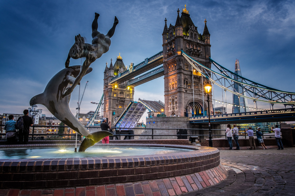 Girl & Dolphin with Tower Bridge by Nick Haigh