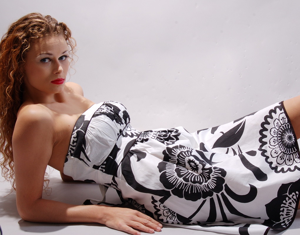 model with flower dress by souleye cisse