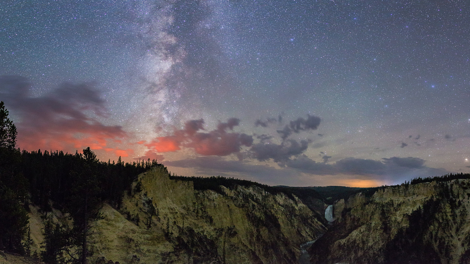 Stars And Fire Over Yellowstone Falls by JT Blenker
