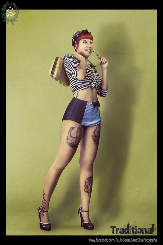 traditional pinup tattoo inspired by paulo Sousa