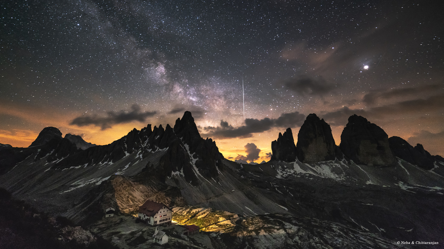Milky Way & Meteor at the Tre Cime, Dolomites, Italy by Chittaranjan Desai