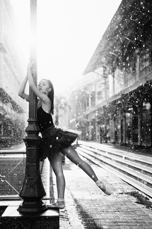 Ballerina Under The Rain by Khatleen Minerve