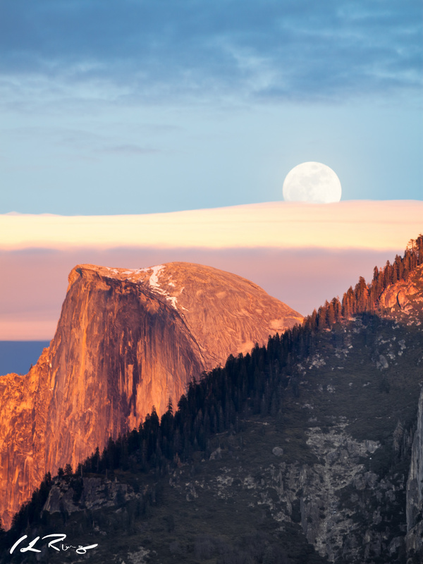 Half dome, full moon by Chris Ring