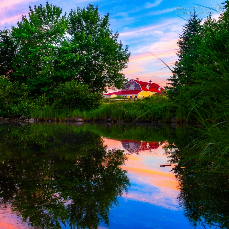 Barn reflecting in North East Creek, Bar Harbor, Maine by Aaron Priest