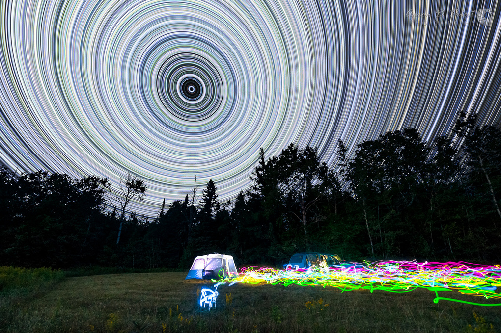 Neon Star Trails by Aaron Priest