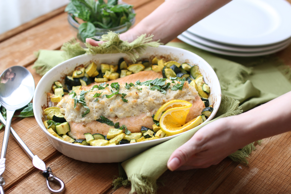 Crab Topped Baked Salmon by Joanie Simon