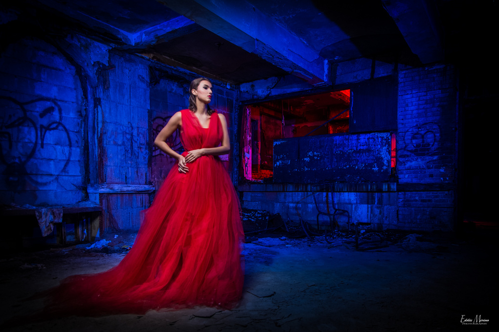 Alone in a borken home with my red dress on by Eddie Merino