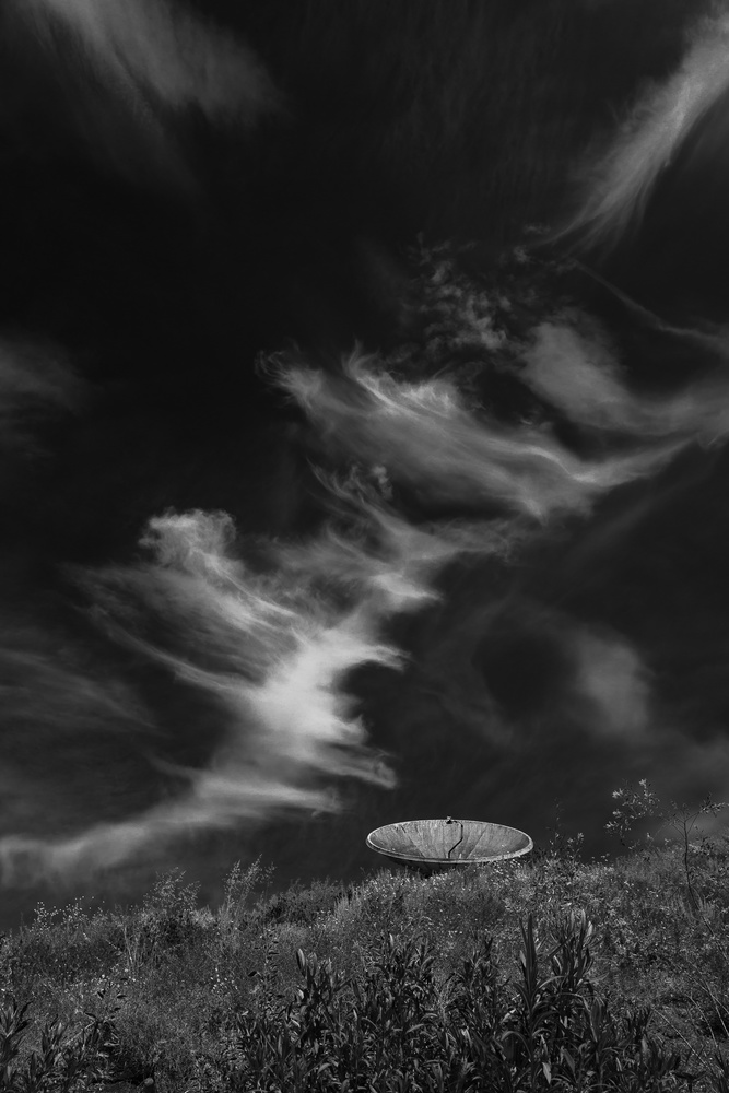 cloudscape with satellite dish, vista, california, 2019 by Ian Meyers