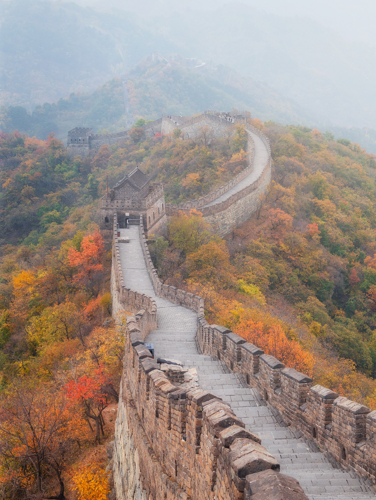 Great Wall of China peppered with fall colours by Terence Leezy