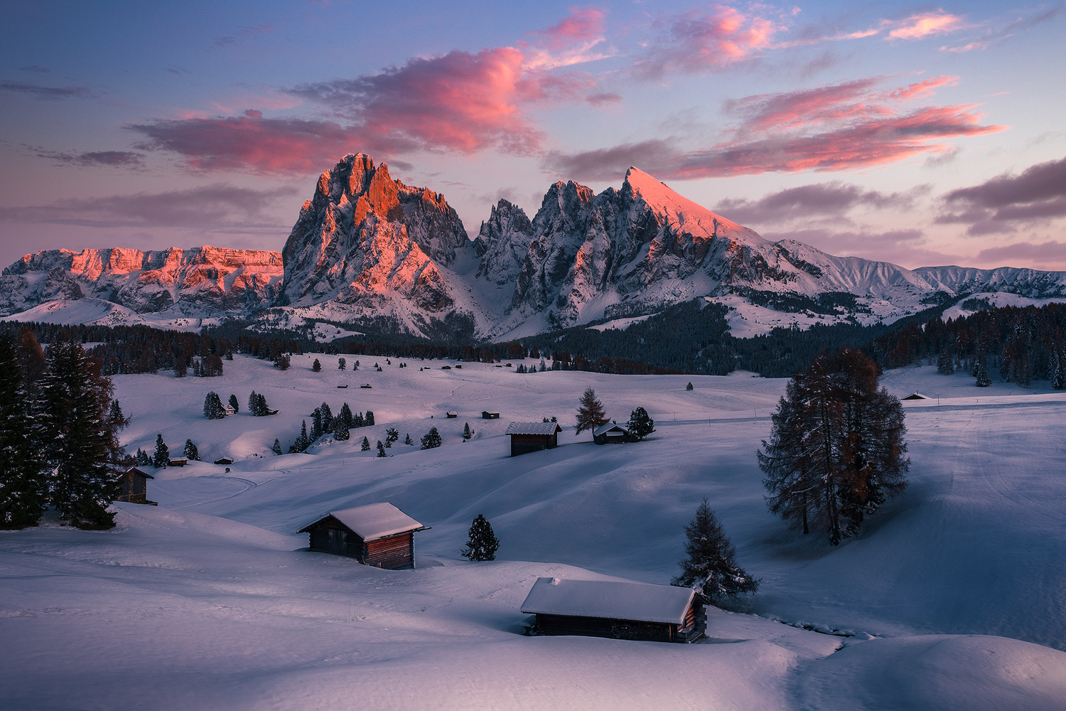Sunset Glow at Alpe di Siusi by Win Mag