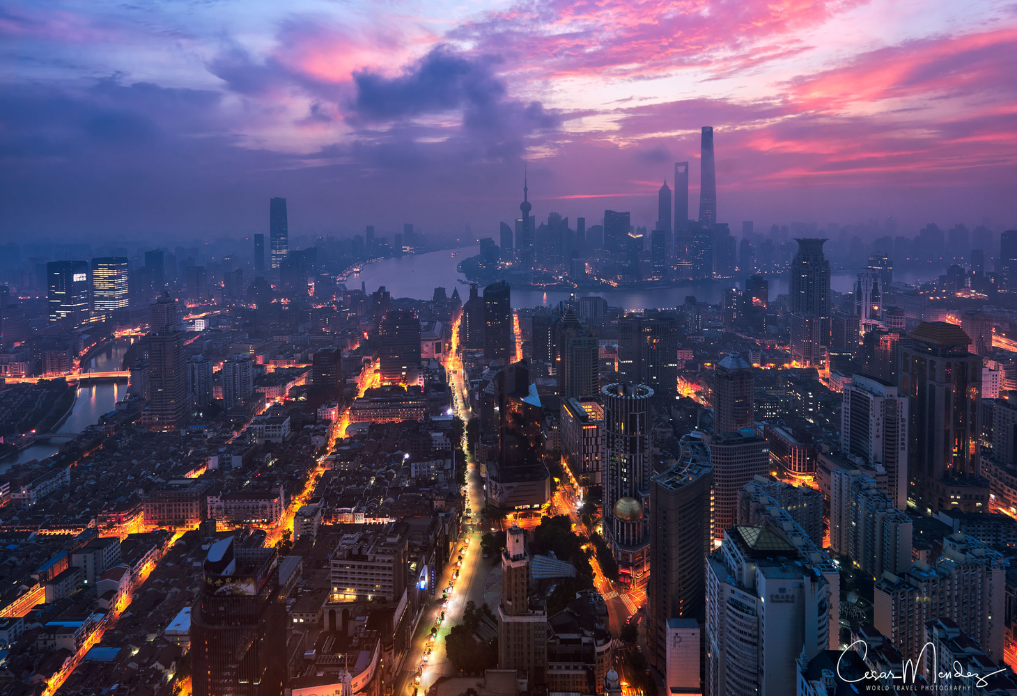 Shanghai from above by Cesar A Mendez Garcia