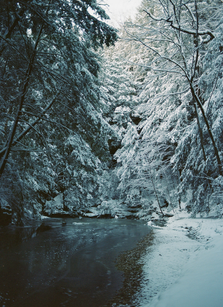 Hocking Hills in Winter - Portra 400 at 800 by James Madison