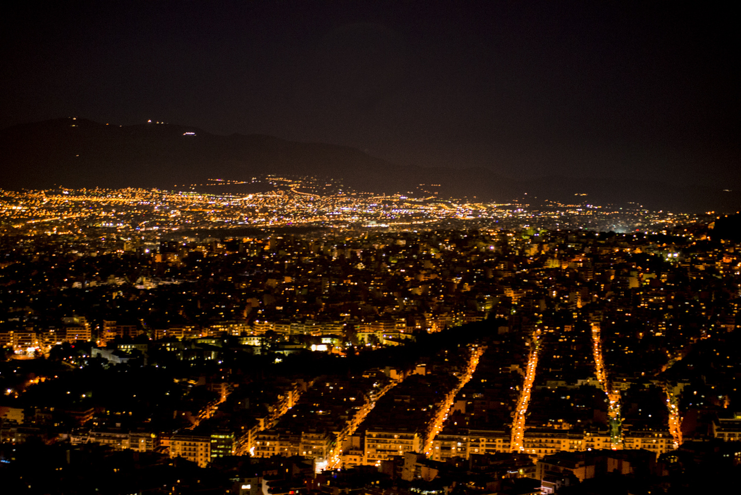 View from Lycabettus Hill at Night by George Stergiopoulos