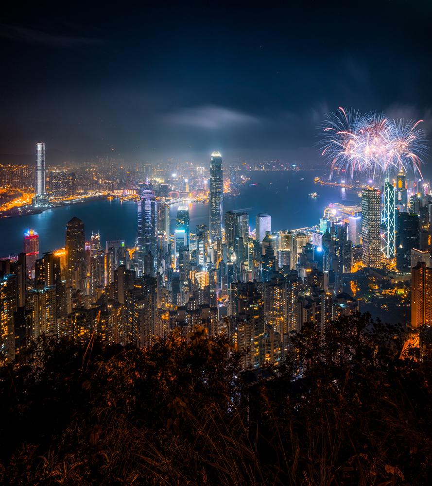 Sparks Above Hong Kong by Brian Ho