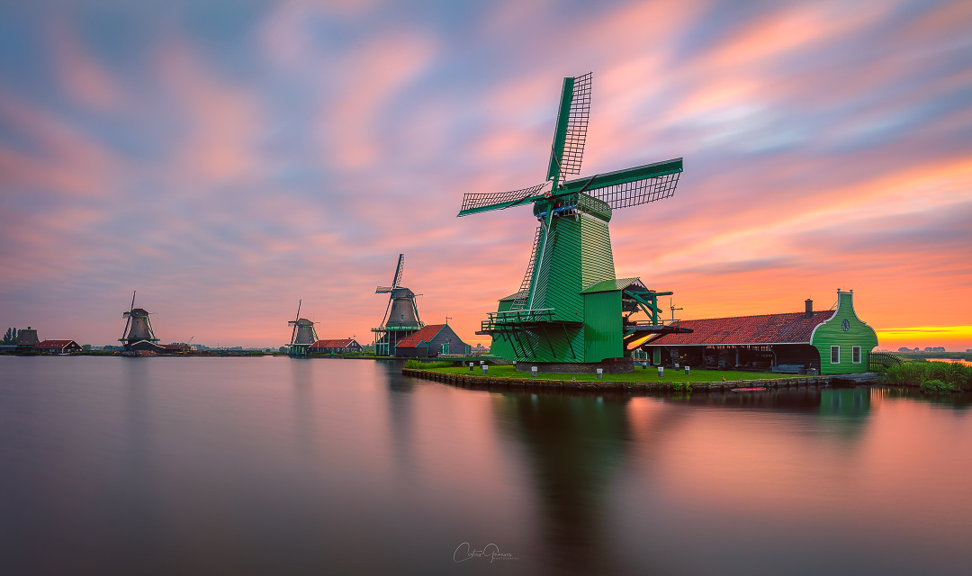 Windmill sunrise in Zaanse Schans by Costas Ganasos