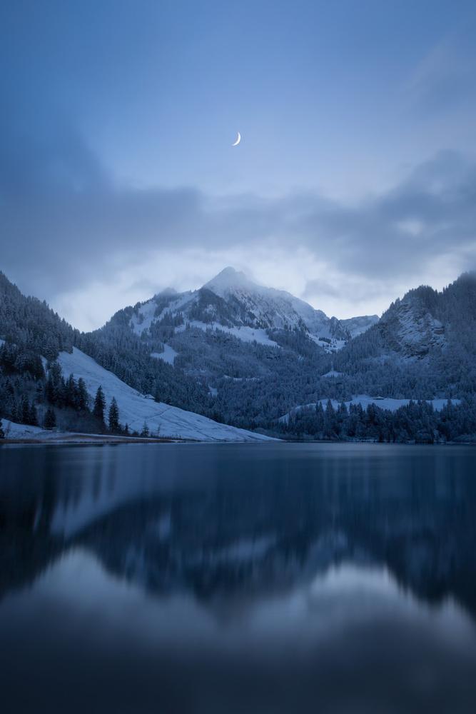 Moon at the Black Lake by Michel Visentin