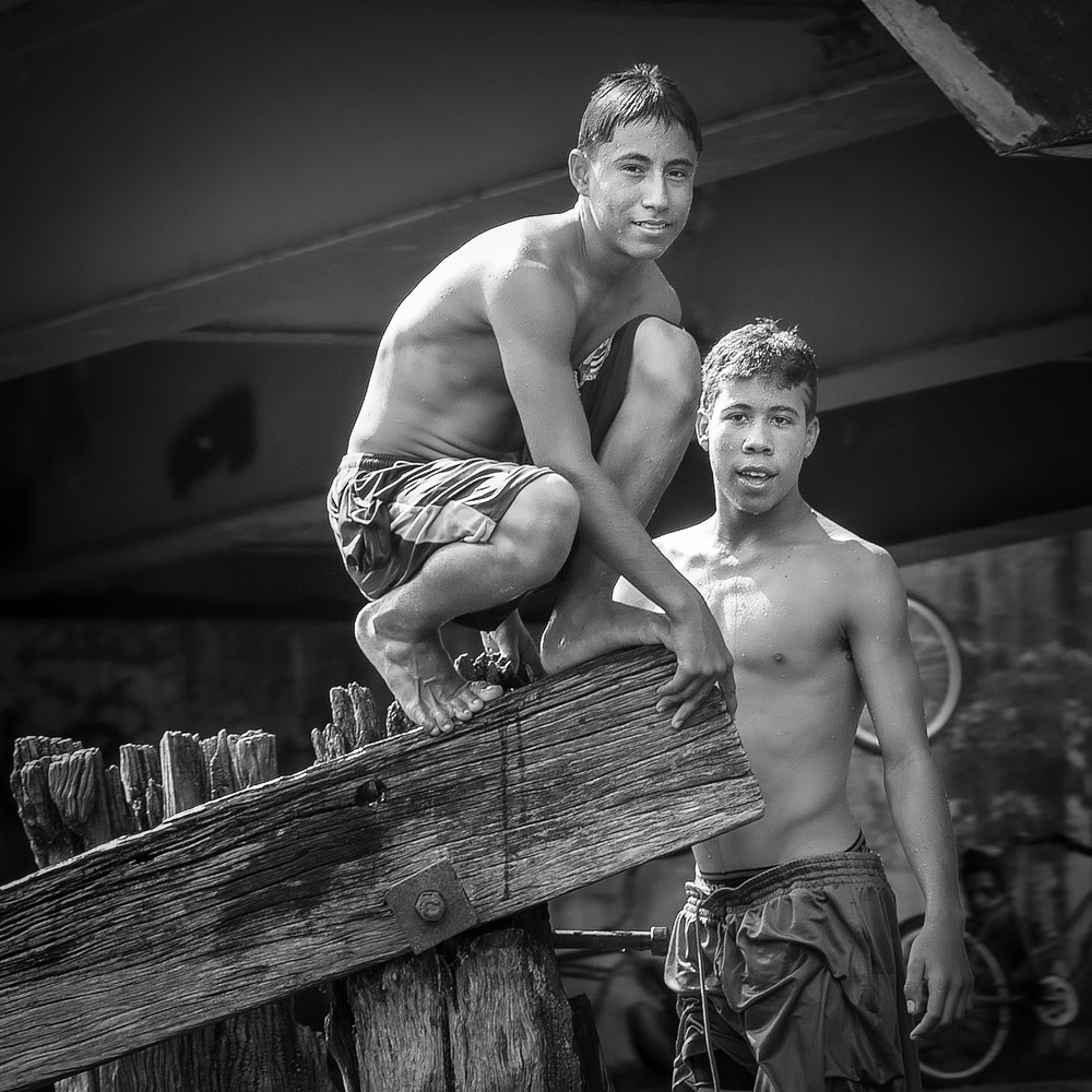 Two Boys in Belize by Mark Peavy