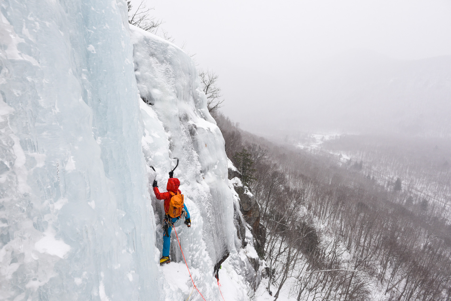 Ice Climber on Standard Route in Crawford Notch, New Hampshire by Joe Klementovich