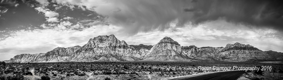 Red Rock Pre-Storm Panorama by Roger Seymour