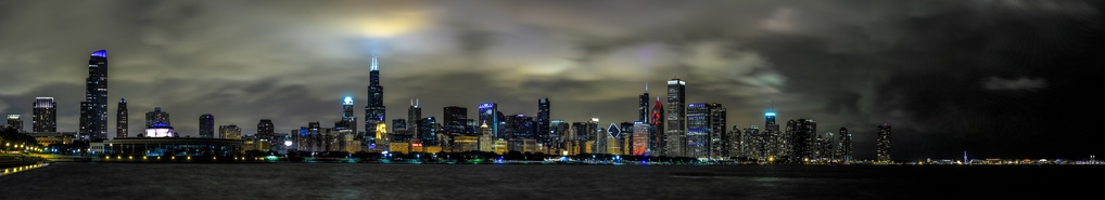 Chicago Lakeshore Skyline at Night by JR Jacobs