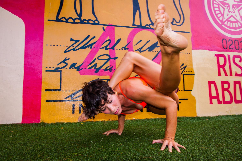 Yoga with graffiti  by John Miller