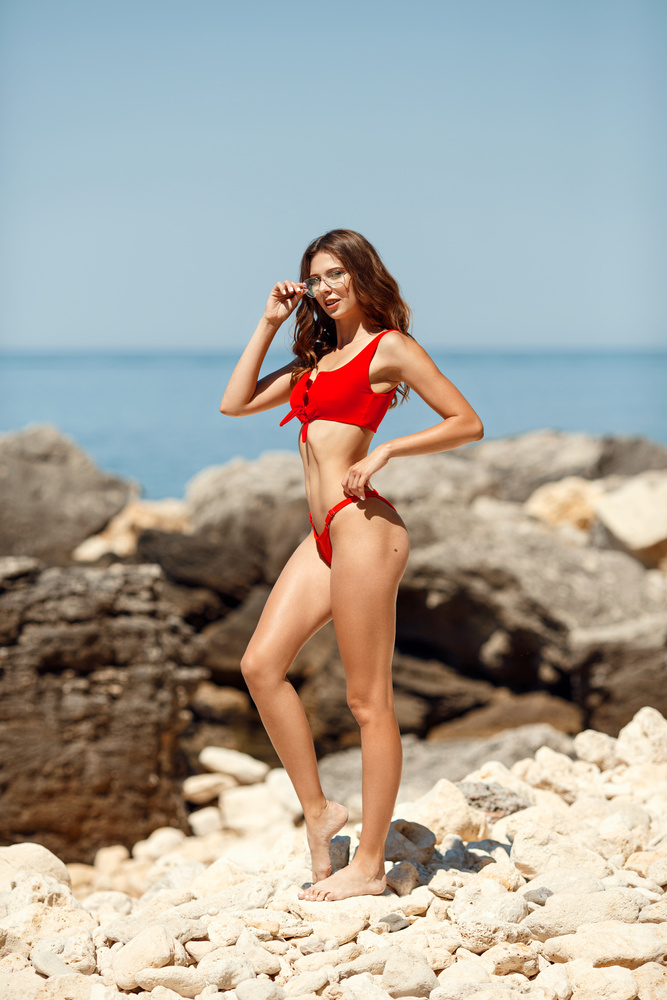 Red swimsuit by Boris Tsepko
