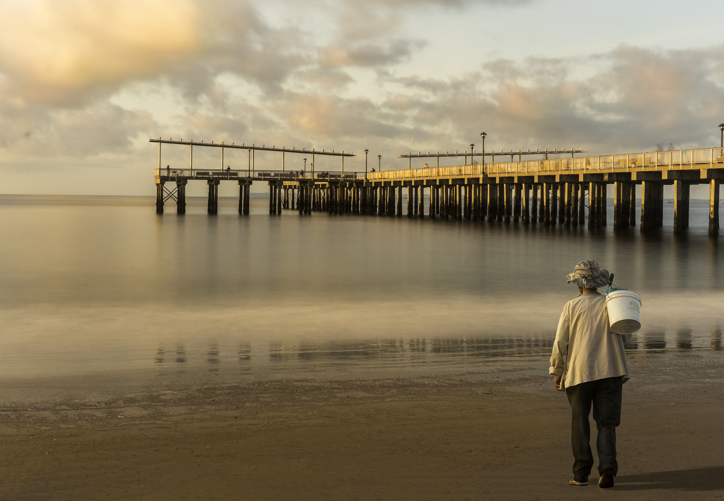 Sunrise and fisherman by Janna Broski