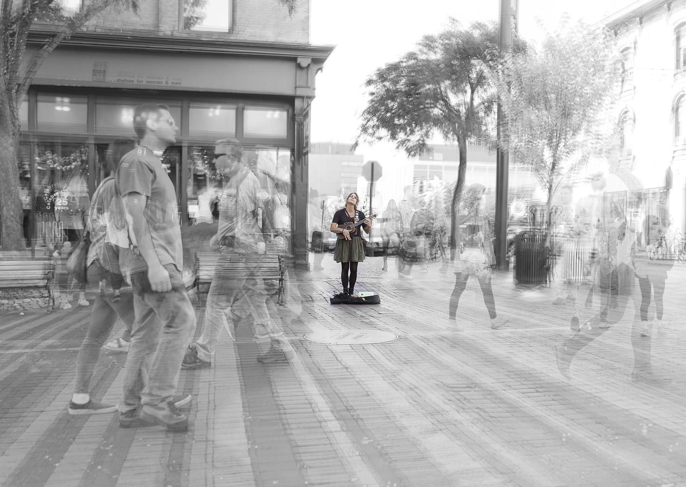Street performer Burlington VT by Janna Broski