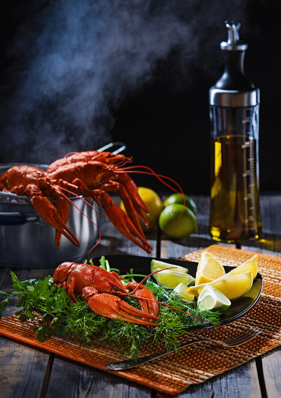 "Boiled crayfish on a table in style ""rustic"" by Anatoly Timofeev"