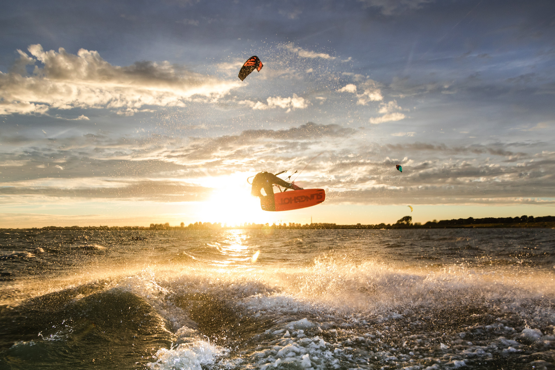 Backlit kitesurfer by reinout smit